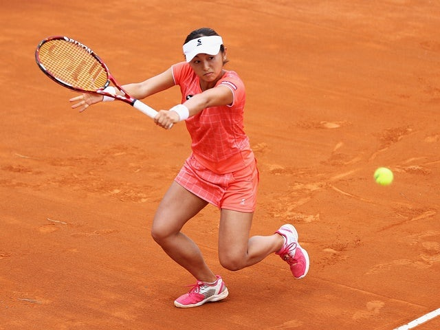 Misaki Doi in action against Johanna Konta during day five of the Italian Open on May 12, 2016