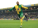 'The Oggmonster' Nathan Redmond wheels away in premature celebration after levelling things up for Norwich City against Watford at Carow Road on May 11, 2016