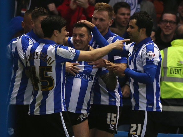 Sheffield Wednesday celebrate Ross Wallace's goal in the Championship playoff semi-finals on May 13, 2016