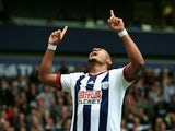 Salomon Rondon celebrates scoring during the Premier League game between West Bromwich Albion and Liverpool on May 15, 2016