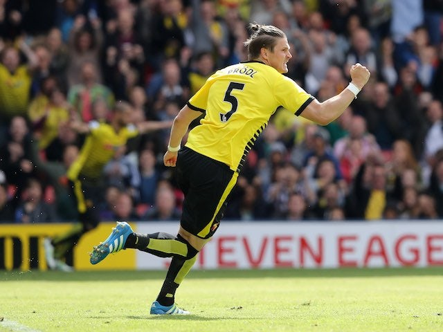 Sebastian Prodl celebrates scoring during the Premier League game between Watford and Sunderland on May 15, 2016