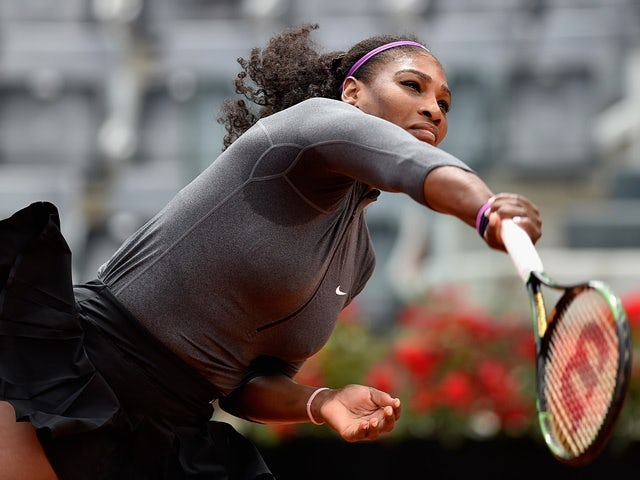Serena Williams serves in her match against Christina McHale on day five of the Italian Open on May 12, 2016