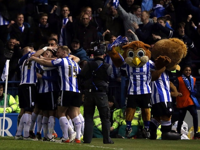 Sheffield Wednesday celebrate Kieran Lee's goal in the Championship playoff semi-finals on May 13, 2016