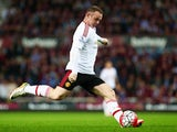 "Wayne Rooney ""in action"" during the Premier League game between West Ham United and Manchester United on May 10, 2016"