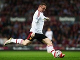 """Wayne Rooney """"in action"""" during the Premier League game between West Ham United and Manchester United on May 10, 2016"""