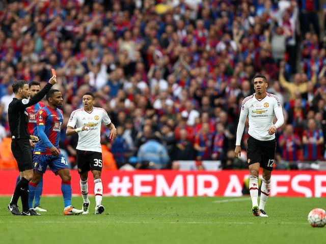 Chris Smalling sees red during the FA Cup final between Crystal Palace and Manchester United on May 21, 2016