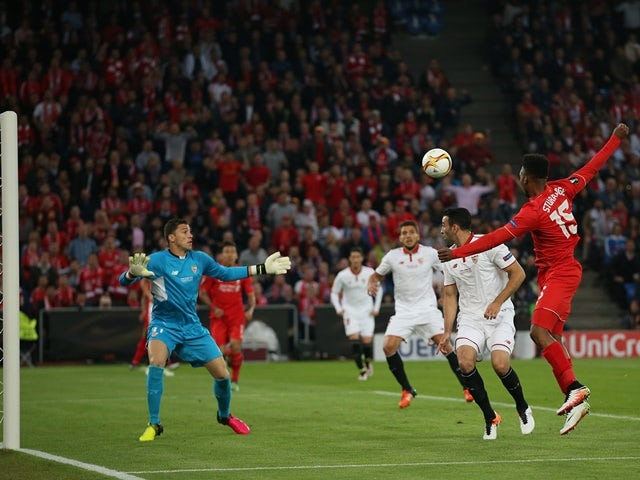 Daniel Sturridge shoots at goal during the Europa League final between Liverpool and Sevilla on May 18, 2016