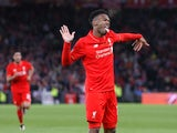 Daniel Sturridge celebrates scoring during the Europa League final between Liverpool and Sevilla on May 18, 2016