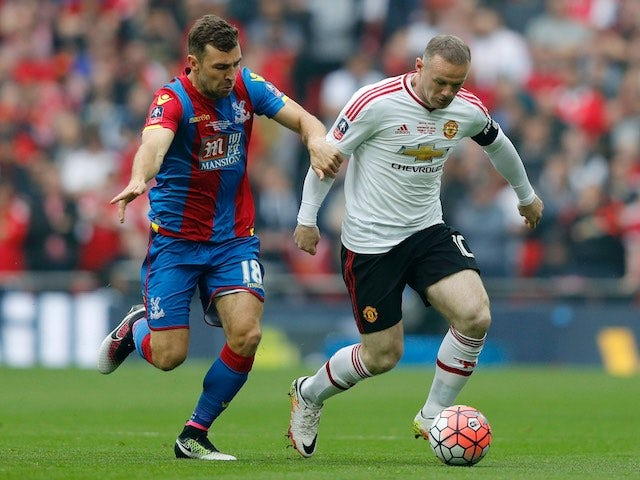 James McArthur and Wayne Rooney in action during the FA Cup final between Crystal Palace and Manchester United on May 21, 2016