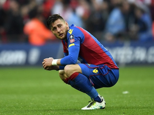 Joel Ward fights back the tears after the FA Cup final between Crystal Palace and Manchester United on May 21, 2016