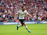 Juan Mata celebrates his equaliser during the FA Cup final between Crystal Palace and Manchester United on May 21, 2016