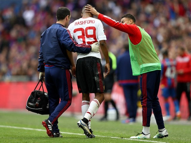 Marcus Rashford comes off during the FA Cup final between Crystal Palace and Manchester United on May 21, 2016