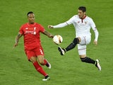 Nathaniel Clyne and Sergio Escudero during the Europa League final between Liverpool and Sevilla on May 18, 2016