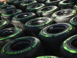 Pirelli Cinturato intermediate tyres during previews to the Australian Formula One Grand Prix at Albert Park on March 17, 2016