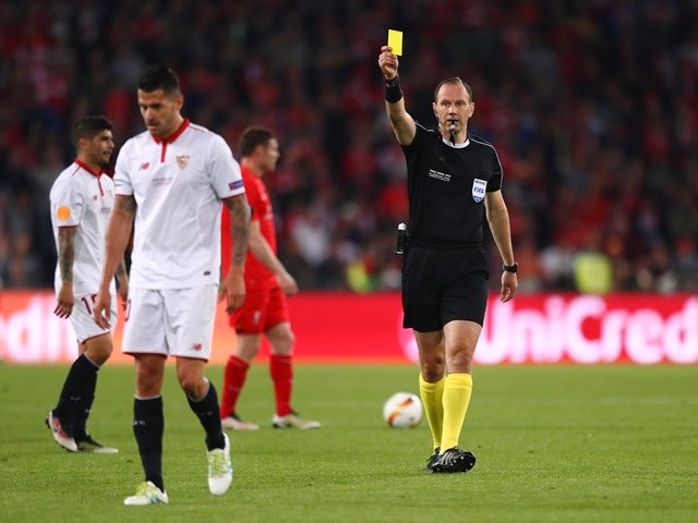 Vitolo is shown yellow during the Europa League final between Liverpool and Sevilla on May 18, 2016