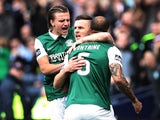 Anthony Stokes of Hibernian is congratulated on scoring on during the Scottish Cup final against Rangers on May 21, 2016