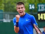 Borna Coric celebrates winning a point during the second round of the French Open on May 26, 2016