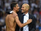 Cristiano Ronaldo and Zinedine Zidane celebrate after the Champions League final between Real Madrid and Atletico Madrid on May 28, 2016