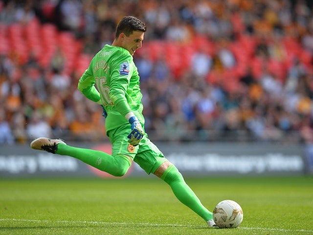 Eldin Jakupovic in action during the Championship playoff final between Hull City and Sheffield Wednesday on May 28, 2016