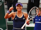 Heather Watson celebrates victory against Nicole Gibbs at French Open at Roland Garros on May 23, 2016