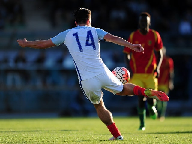 Jack Grealish of England scores his side's first goal during the Toulon Tournament match against Guinea at Stade De Lattre on May 23, 2016