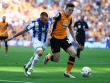 Jack Hunt and Andrew Robertson in action during the Championship playoff final between Hull City and Sheffield Wednesday on May 28, 2016
