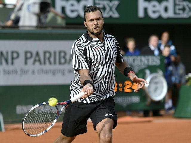 Jo-Wilfried Tsonga in action during the second round of the French Open on May 26, 2016