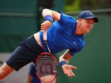 Kyle Edmund in action against Nikoloz Basilashvili on day two of the French Open at Roland Garros on May 23, 2016