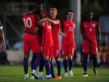 Lewis Baker celebrates scoring during the game between Paraguay under-23s and England under-21s on May 25, 2016