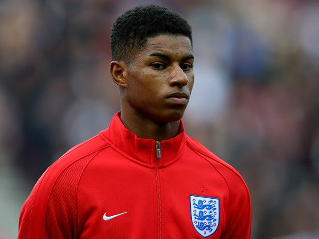 Marcus Rashford looks on before making his England debut against Australia at the Stadium of Light on May 27, 2016