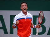 Roberto Bautista Agut celebrates progression to the fourth round of the French Open on May 28, 2016
