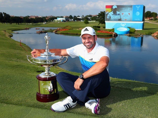 Sergio Garcia of Spain poses with the trophy after winning the AT&T Byron Nelson at the TPC Four Seasons Resort on May 22, 2016