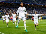 Sergio Ramos celebrates his opener during the Champions League final between Real Madrid and Atletico Madrid on May 28, 2016