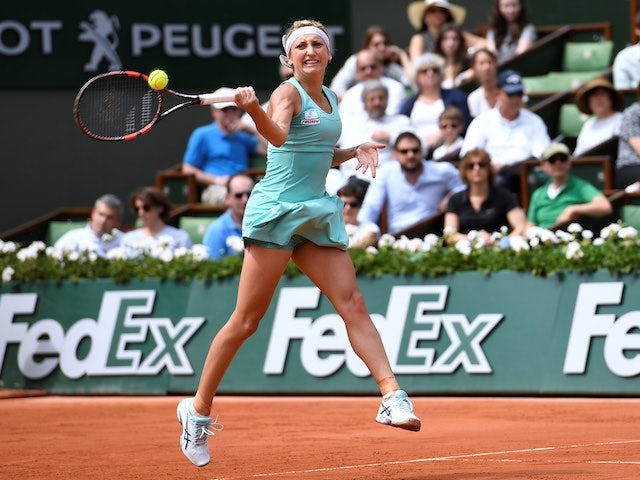 Timea Bacsinszky in action at the French Open on May 28, 2016