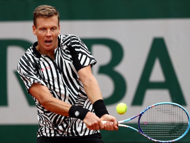 Tomas 'let's go' Berdych in action during the second round of the French Open on May 26, 2016