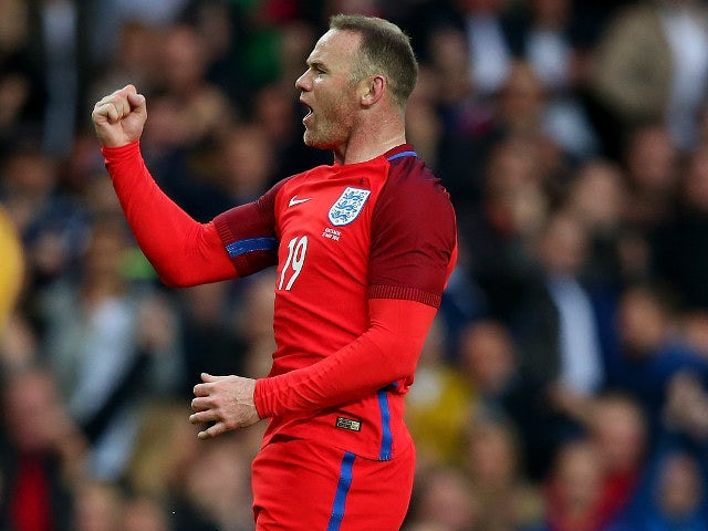 England captain Wayne Rooney celebrates scoring his 52nd goal for his country during the 2-1 win over Australia at the Stadium of Light on May 27, 2016