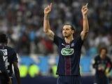 Paris Saint-Germain's Zlatan Ibrahimovic celebrates scoring a goal during the Coupe de France final against Marseille on May 21, 2016