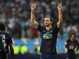 Paris Saint-Germain's Zlatan Ibrahimovic celebrates scoring a goal during the Coupe de France final against Marseille on May 21, 2016