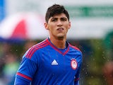 Alan Pulido of Olympiacos in action during the pre season friendly match against FC Twente on July 29, 2015