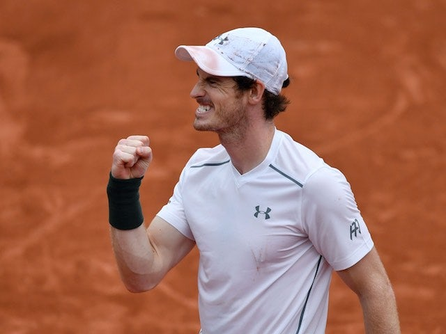 Andy Murray celebrates winning his French Open quarter-final on June 1, 2016