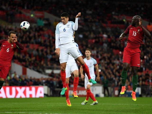 England defender Chris Smalling scores the winning goal in his side's 1-0 victory over Portugal at Wembley on June 2, 2016