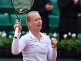 Kiki Bertens celebrates winning her French Open quarter-final match on June 2, 2016