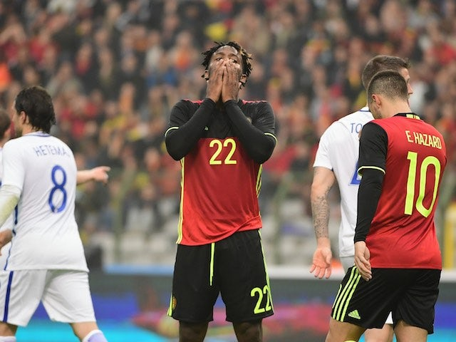 Michy Batshuayi reacts to a missed chance during the international friendly between Belgium and Finland on June 1, 2016