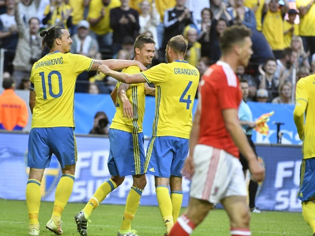 Mikael Lustig of Sweden celebrates after scoring during the international friendly against Wales at Friends Arena on June 5, 2016
