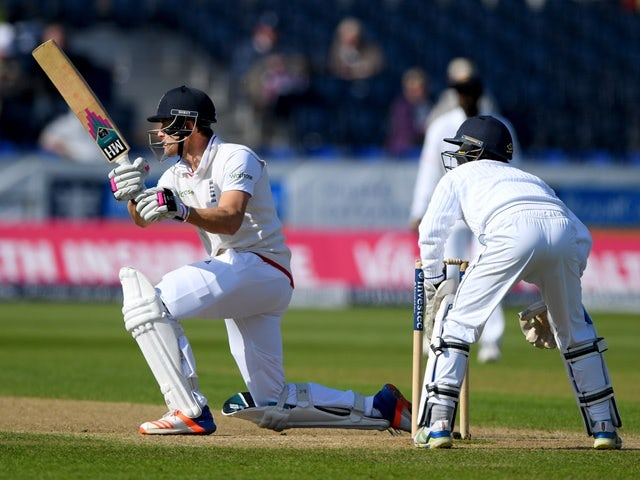 England batsman Nick Compton hits the winning runs during day four of the Test match against Sri Lanka on May 30, 2016