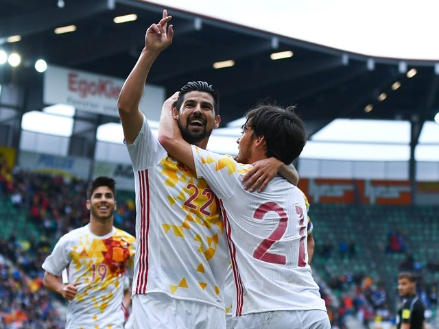 Nolito celebrates after scoring the opening goal during an international friendly match between Spain and Bosnia at the AFG Arena on May 29, 2016