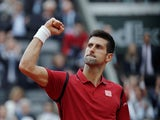 Novak Djokovic reacts during the French Open final against Andy Murray on June 5, 2016