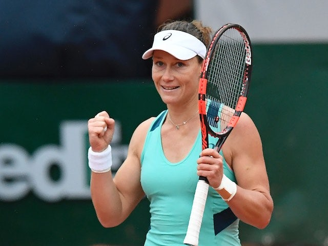 Sam Stosur celebrates victory at the French Open on June 1, 2016