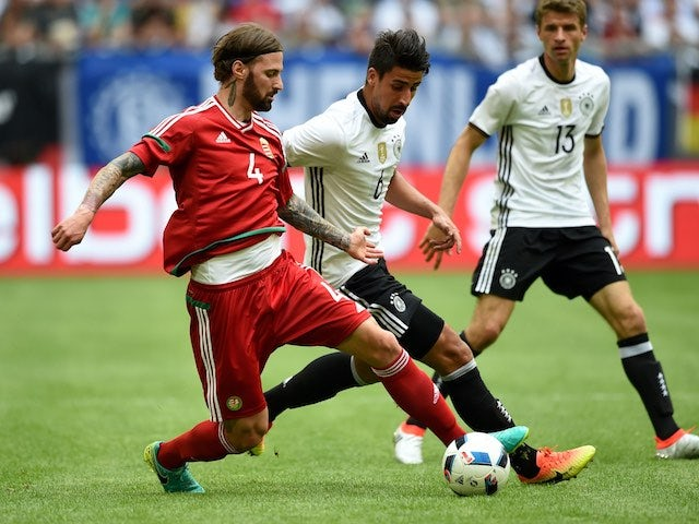 Sami Khedira and Tamas Kadar in action during the international friendly between Germany and Hungary on June 4, 2016