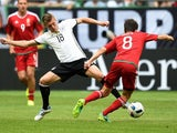 Toni Kroos and Adam Nagy in action during the international friendly between Germany and Hungary on June 4, 2016